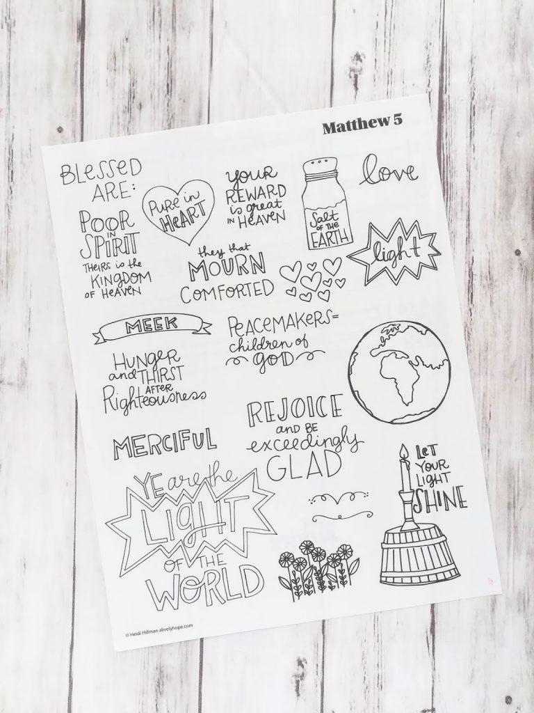 Matthew 5 Sketchnotes Traceable Doodles Alivelyhope Com