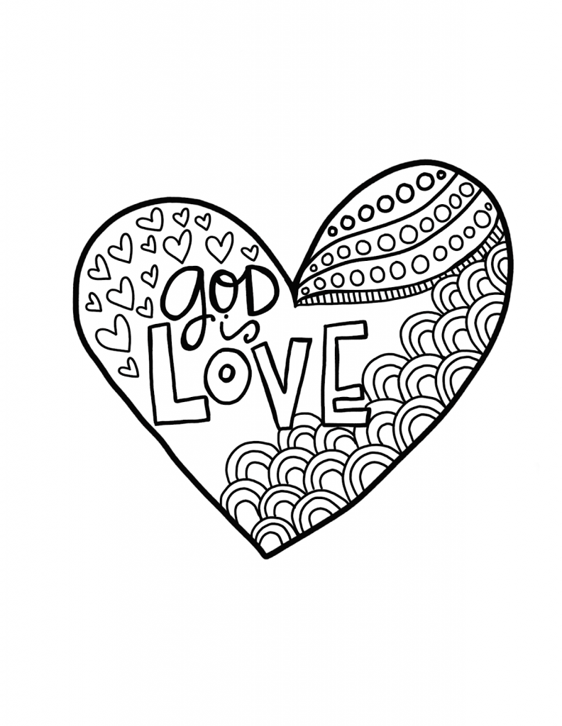 Free zentangle-inspired 'love' coloring page for adults or teens ...   1024x792